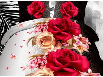 Romantic Lifelike Roses and Lily Print Polyester 4-Piece Duvet Cover Sets