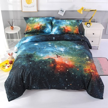 Fabulous Charming Galaxy Print Polyester 4-Piece Duvet Cover Sets