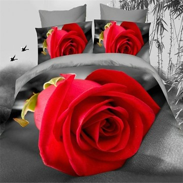 Romantic Big Red Rose 3D Printed 4 Pieces Bedding Sets