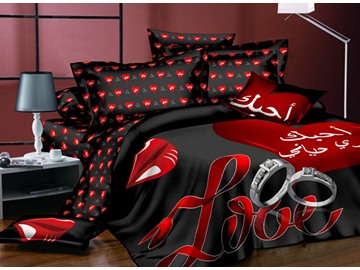 Rings and Heart Shaped Polyester Black 4-Piece Duvet Cover Sets