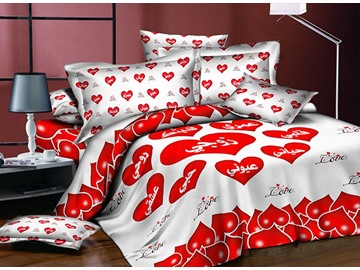 Romantic Red Heart Shaped Printing Polyester 4-Piece Duvet Cover Sets