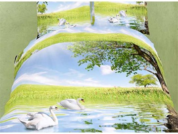 Swans on Lake Wild Scenery Polyester 4-Piece Polyester Duvet Cover Sets
