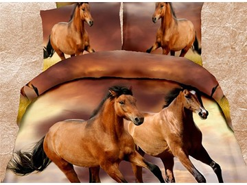 New Arrival Fancy Vivid Running Horses 4 Piece Polyester Bedding Set