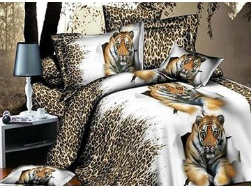 Lying Tiger with Leopard Background Print 4-Piece Polyester 3D Duvet Cover