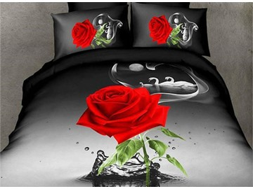 Amazing Red Rose in Water Design 4-Piece 3D Polyester Duvet Cover Sets