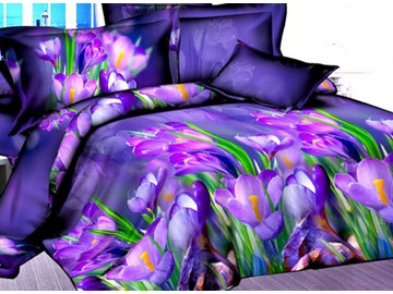 Adorable Purple Tulip 4-Piece Polyester Duvet Cover Sets