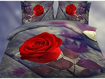 Graceful Noble 3D Rose Print 4-Piece Polyester Duvet Cover Sets