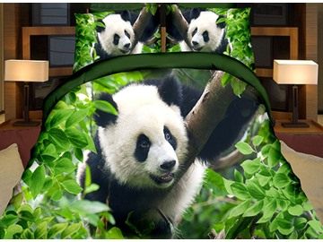 Lifelike Cute Panda Print Green 4-Piece Duvet Cover Sets