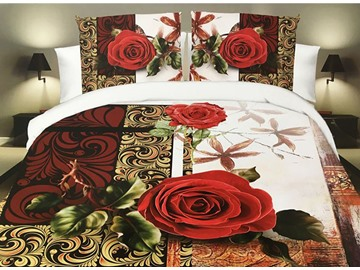 Vivid Red Rose Print 4-Piece Polyester 3D Duvet Cover