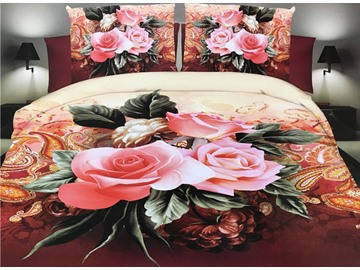 Vivid Pink Roses Print 4-Piece Polyester Duvet Cover