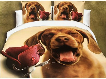 Adorable Dog and Rose Print 4-Piece Polyester Duvet Cover