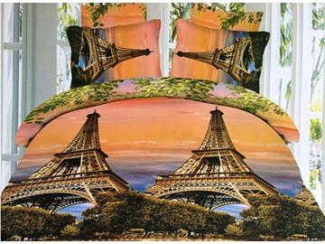 Romantic Eiffel Tower Print 4-Piece Polyester Duvet Cover