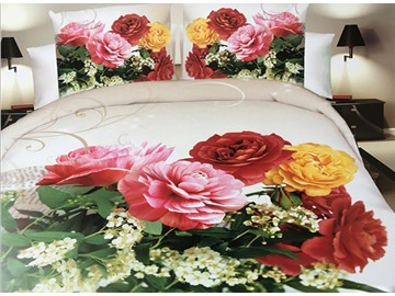 Colorful Peony Print 4-Piece Polyester 3D Duvet Cover