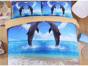 Vigorous Dolphin 3D Printed 4-Piece Duvet Cover Sets