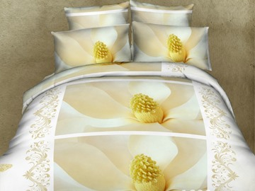 White Lily Magnolia Print 4-Piece Duvet Cover Sets