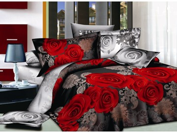 Sweet 3D Red Rose Print 4-Piece Polyester Duvet Cover Sets