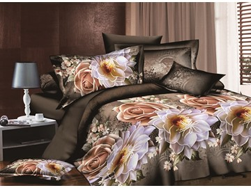 Vintage Style Rose and Peony Print 4-Piece Duvet Cover Sets