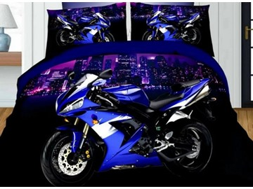 3D Motorcycle Printed Polyester 4-Piece Bedding Sets/Duvet Covers