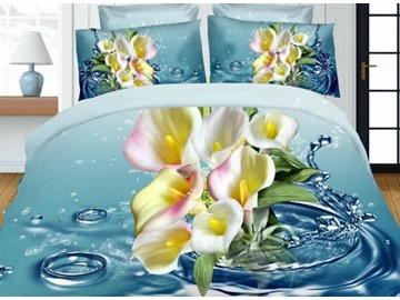Lifelike 3D Calla Lily Printed 4-Piece Polyester Duvet Cover Sets