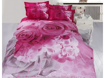 Lifelike 3D Pink Rose Printed 4-Piece Polyester Duvet Cover Sets