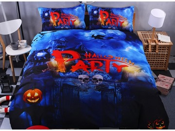 3D Halloween Party and Skull Printed Polyester 4-Piece Bedding Sets/Duvet Covers