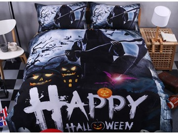 3D Happy Halloween and Reaper Printed Polyester 4-Piece Bedding Sets/Duvet Covers
