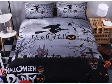 3D Halloween Witch and Skull Printed Polyester 4-Piece Bedding Sets/Duvet Covers