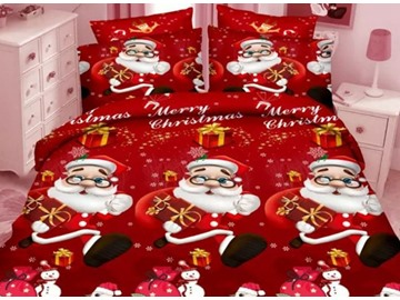 Lovely Christmas 3D Santa Printed 4-Piece Polyester Duvet Cover Sets