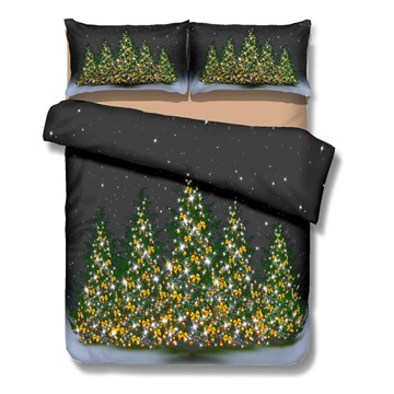 Shining Christmas Tree Print 4-Piece Polyester Duvet Cover Sets
