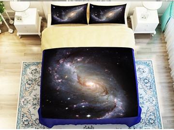 Beautiful Nebula Print 4-Piece Polyester Duvet Cover Sets