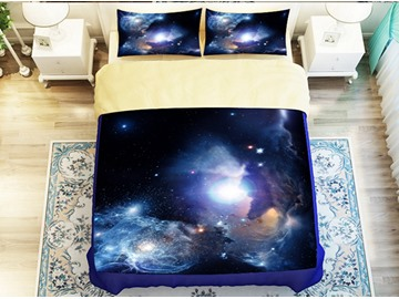 Bright Shining Galaxy Print 4-Piece Polyester Duvet Cover Sets