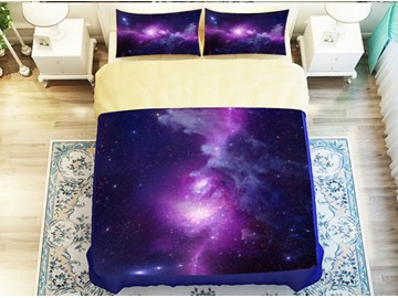 Wonderful Purple Galaxy Print 4-Piece Polyester Duvet Cover Sets