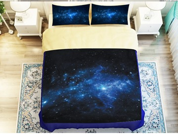 Blue Galaxy 3D Starry Duvet Cover Set with Non-slip Ties 4-Piece Bedding Sets with Durable Soft Buffy Sheet and Pillowcases