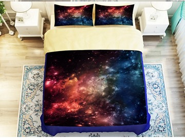 Gorgeous Colorful Galaxy Printed 4-Piece Polyester Duvet Cover Sets
