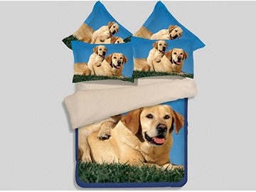Dog Mother and Son Print 4-Piece Polyester Duvet Cover Sets