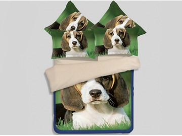Lovely Beagle Puppy Printed 4-Piece Polyester Duvet Cover Sets