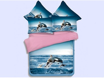 Vivid 3D Orca Printed 4-Piece Polyester Duvet Cover Sets
