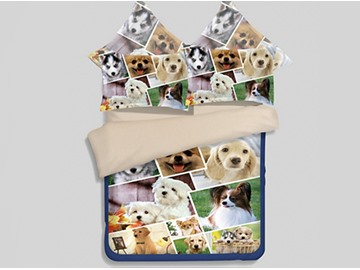 Likable 3D Puppies Printed 4-Piece Polyester Duvet Cover Sets