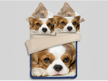 Lightweight Lovely Puppy 3D Printed 4-Piece Polyester Duvet Cover Sets