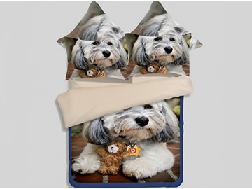 Skincare Lovely Puppy 3D Printed 4-Piece Polyester Duvet Cover Sets
