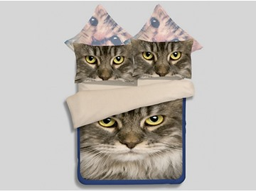 Likable 3D Kitty Printed 4-Piece Polyester Duvet Cover Sets