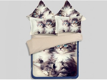 Cute Maine Coon 3D Printed 4-Piece Polyester Duvet Cover Sets