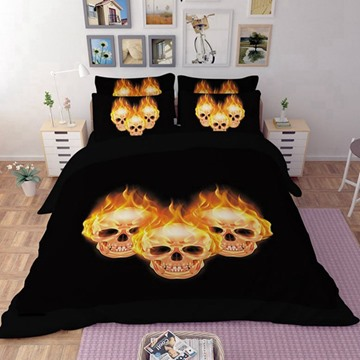 3D Flaming Skulls Printed Polyester 4-Piece Bedding Sets/Duvet Covers
