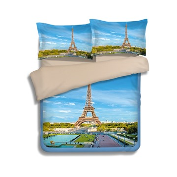 Classic Eiffel Tower Blue 4-Piece Polyester Duvet Cover Sets