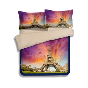 Beautiful Eiffel Tower at Dusk Print 4-Piece Polyester Duvet Cover Sets