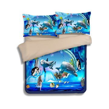 Lovely 3D Dolphins Print 4-Piece Polyester Duvet Cover Sets
