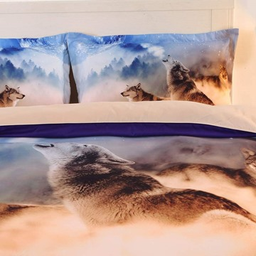 3D Howling Wolves Print 4-Piece Polyester Duvet Cover Sets