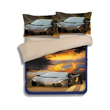 Expensive Car 3D Printed 4-Piece Polyester Duvet Cover Sets