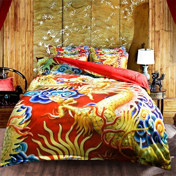 Noble Chinese Dragon Print 4-Piece Polyester Duvet Cover Sets Endurable Skin-friendly All-Season