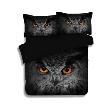 Mysterious Vivid Owl Print 4-Piece Polyester Duvet Cover Sets